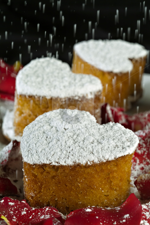 Heart Shape cakes stock photo, Heart Shape sugar powdered cakes for Valentine's Day by Noam Armonn