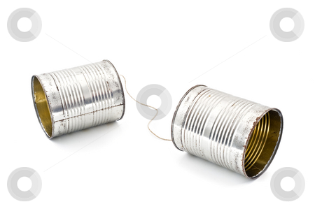 Tin can phone stock photo, Two tins connected together by string to make phone by Noam Armonn