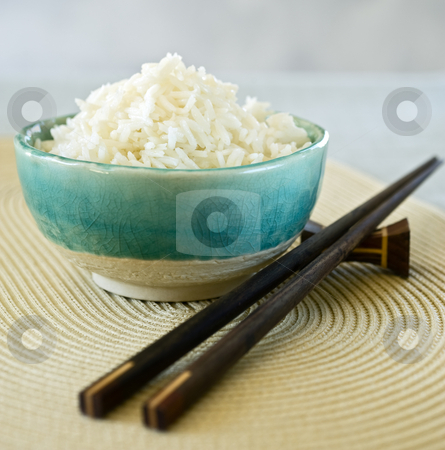Rice bowl stock photo, Ceramic bowl with plain white rice by Noam Armonn