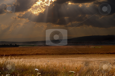 Dramatic sunse stock photo, Dramatic sunset over the Izraeli valley in the lower  Galilee Israel by Noam Armonn