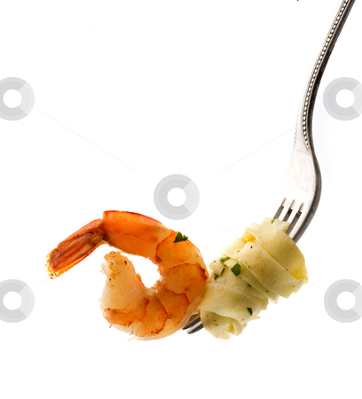 Fork with pasta and shrimp stock photo, Fork with pasta and shrimp isolated on white by Noam Armonn