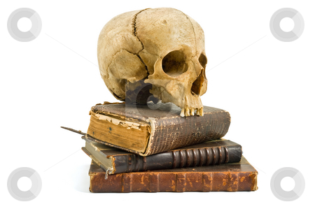 Skull and old books stock photo, Skull and old books isolated on white by Noam Armonn