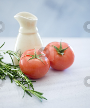 Fresh tomatoes  and rosmary stock photo, Fresh tomatoes rosmary and olive oil in SDOF by Noam Armonn