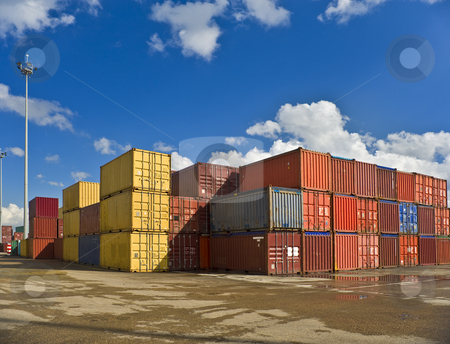 Containers  stock photo, Bulk of containers in a dockyard by Noam Armonn