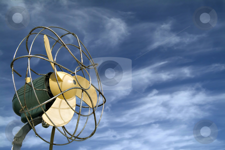 Retro ventilator stock photo, Retro ventilator agaist blue sky with cirrus clouds by Noam Armonn
