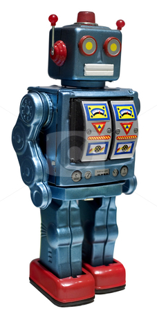 Toy robot stock photo, Retro toy robot isolated on white by Noam Armonn