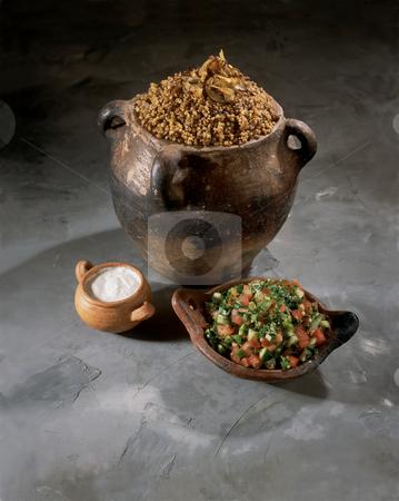 Palestinian Food Magadra Yogurt and Salad stock photo, Magadra, Yogurt and Salad - Palestinian Food in terra cota kitchenware by Noam Armonn