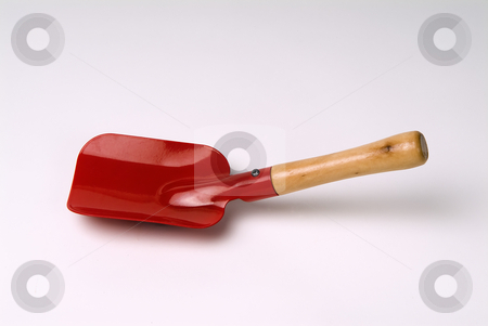 Red Shovel stock photo, Red shovel  kids garden tool by Noam Armonn