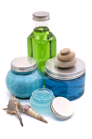 Spa bottles  stock photo, Blue and green cosmetic bottles and jars, isolated on white by Noam Armonn