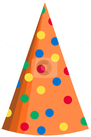 Party hat 31 stock photo, Colorful polka dot party hat isolated on white background by Stacy Barnett