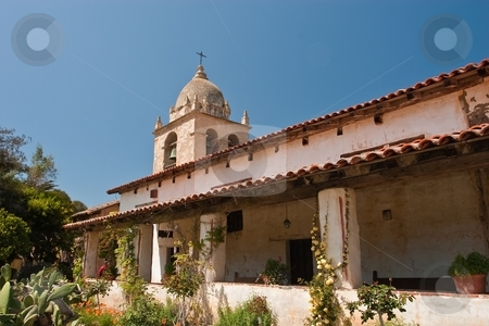 Mission San Carlos Borromeo de Carmelo stock photo, Mission San Carlos Borromeo de Carmelo, also known as the Carmel Mission, is a historic Roman Catholic mission church in Carmel-by-the-Sea, California. It was the headquarters of the padre presidente, Father Fermin Francisco de Lasuen. by Mariusz Jurgielewicz