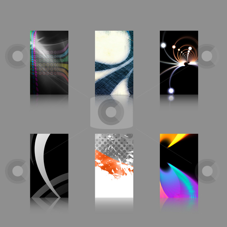 Business Card Templates Collection stock photo, An assortment of 6 modern business card templates that are print ready and fully customizable. Easily add your text and logo. These include .25 inch bleed and trim to the standard 3.5 x 2 size. by Todd Arena
