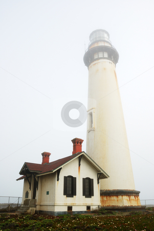 Pigeon Point Lighthouse In Fog stock photo, Pigeon Point Lighthouse near Pescadero, California on a foggy day. by Denis Radovanovic