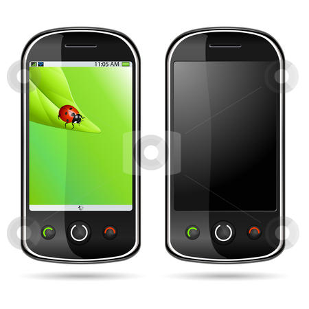 Modern mobile phone stock vector clipart, Vector illustration of a modern mobile phone by Laurent Renault