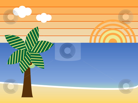 Retro Beach stock vector clipart, Retro Beach Sunset Landscape with palm tree by Augusto Cabral Graphiste Rennes