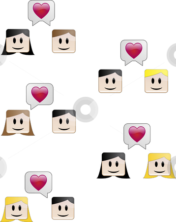 Lovers Talk stock vector clipart, Heterosexual and homosexual couples declaring their love by Augusto Cabral Graphiste Rennes