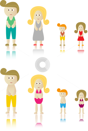 Retro Family Isolated stock vector clipart, Retro Family Isolated in White City and Beach Clothes by Augusto Cabral Graphiste Rennes