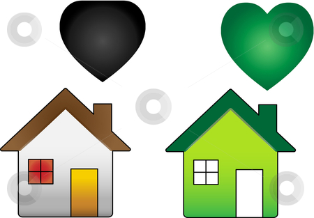 Climate change stock vector clipart, Ecological House versus Regular House by Augusto Cabral Graphiste Rennes