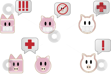 Swine Flu Bubbles stock vector clipart, Swine flu with bubbles showing different attention symbols by Augusto Cabral Graphiste Rennes