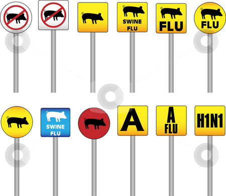 Swine Flu Signs stock vector clipart, Swine Flu Signs of Danger and Attention with the new H1N1 Influenza A name by Augusto Cabral Graphiste Rennes