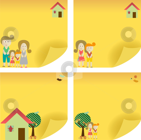 Family Post Note stock vector clipart, Family yellow sticker note. Add your message. by Augusto Cabral Graphiste Rennes