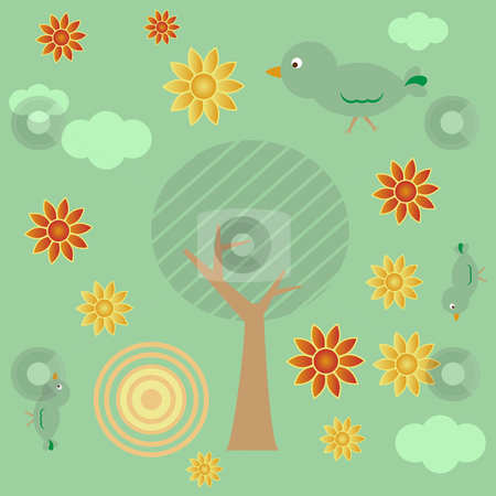 Retro_Landscape_Base stock vector clipart, Retro style landscape with tree, sun and clouds by Augusto Cabral Graphiste Rennes