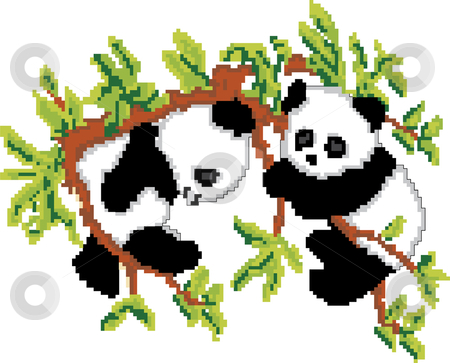Pandas on Tree Pixel Art stock vector clipart, Pandas resting on tree based on pixel art by Augusto Cabral Graphiste Rennes