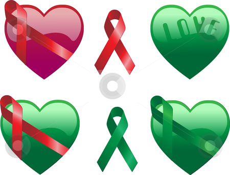 Hearts with Ribbons stock vector clipart, Hearts with Ribbons in red and green by Augusto Cabral Graphiste Rennes
