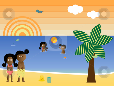 Retro Beach African American Family stock vector clipart, Retro Beach Sunset Landscape African American Family Vacation by Augusto Cabral Graphiste Rennes