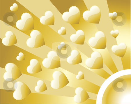 Background Retro Golden Heart stock vector clipart, Abstract Retro Style Background with golden hearts by gubh83