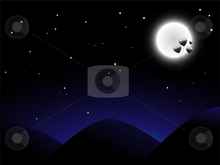 Ballon Moon stock vector clipart, Golden heart shaped ballons flying to the moon by Augusto Cabral Graphiste Rennes