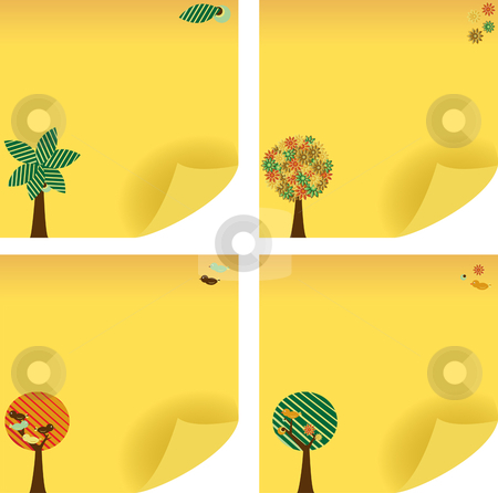 Tree Post Note stock vector clipart, Yellow tree shaped sticker note. Add your message. by gubh83