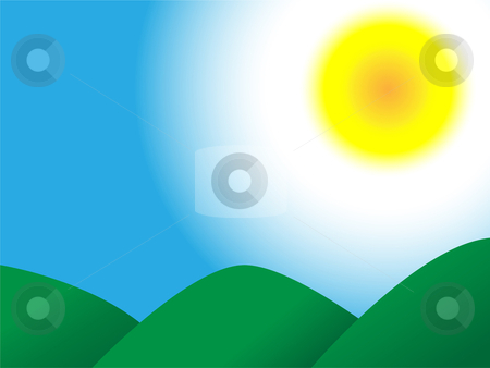 Mountains Sky Sun stock vector clipart, Sunny summer sky with green mountains landscape by Augusto Cabral Graphiste Rennes