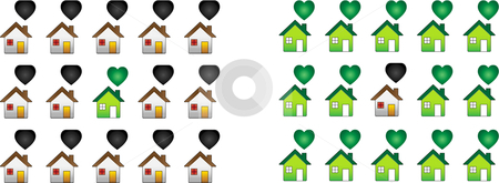 Regular House among ecological houses stock vector clipart, Regular House among ecological houses illustrating global warming issues by Augusto Cabral Graphiste Rennes