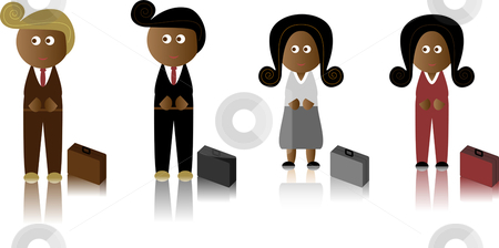 African American Business stock vector clipart, African American Business Men and Women with briefcase by Augusto Cabral Graphiste Rennes