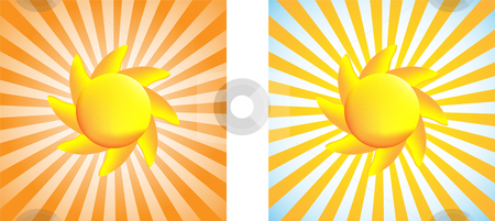 Sun stock vector clipart, Beautiful sun with mesh gradient and stripes background by Augusto Cabral Graphiste Rennes