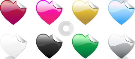 Colored Hearts Stickers stock vector clipart, Set of 8 colored hearts stickers, no transparencies by Augusto Cabral Graphiste Rennes