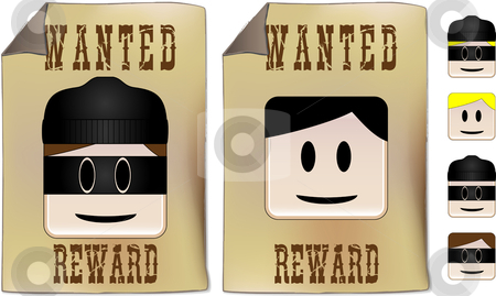 Wanted Sign stock vector clipart, Wanted sign with alternative faces to be used as you prefer by Augusto Cabral Graphiste Rennes