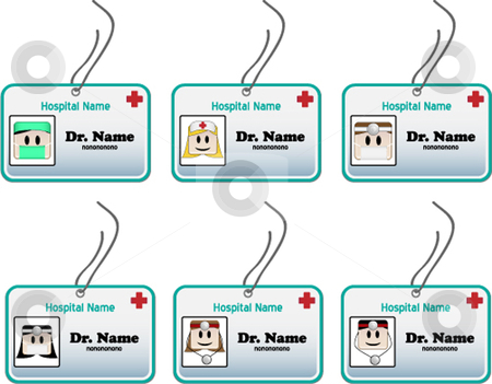 Medical ID stock vector clipart, Identity card for doctors, nurses and surgeons by Augusto Cabral Graphiste Rennes