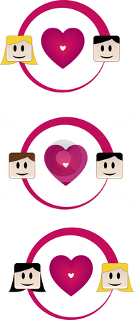 Love for all stock vector clipart, Straight, Gay and Lesbian Couples by Augusto Cabral Graphiste Rennes