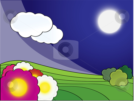 Spring Landscape Night stock vector clipart, Vector night landscape with flowers by Augusto Cabral Graphiste Rennes