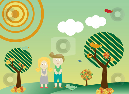 Retro style couple in landscape stock vector clipart, Retro style couple in a background with tree, sun, clouds, flowers and birds by Augusto Cabral Graphiste Rennes