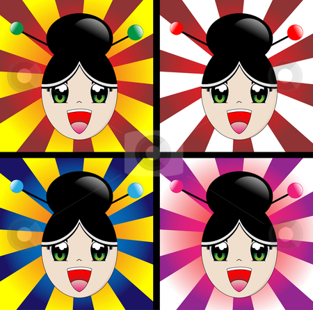 Japanese Girl stock vector clipart, Japanese manga style girl laughing by Augusto Cabral Graphiste Rennes