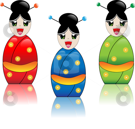 Japanese Girl with Kimono stock vector clipart, Japanese manga style girl laughing with kimono in red, blue and green by Augusto Cabral Graphiste Rennes