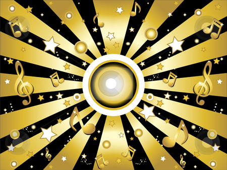 Music notes background stock vector clipart, Music and stars golden and shiny background by gubh83