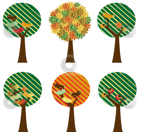 Set of retro trees stock vector clipart, Set of 6 retro trees with flowers, birds and fruits by Augusto Cabral Graphiste Rennes