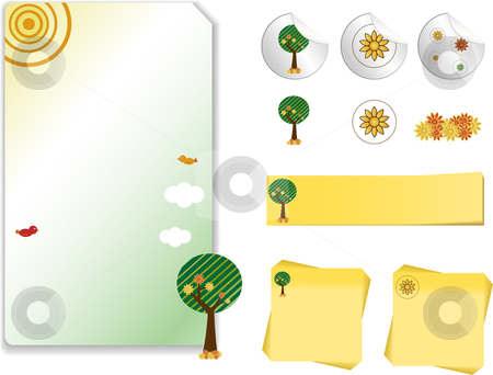 Retro Nature  Kit stock vector clipart, Set of Retro Nature Landscape  with note, sticker by Augusto Cabral Graphiste Rennes