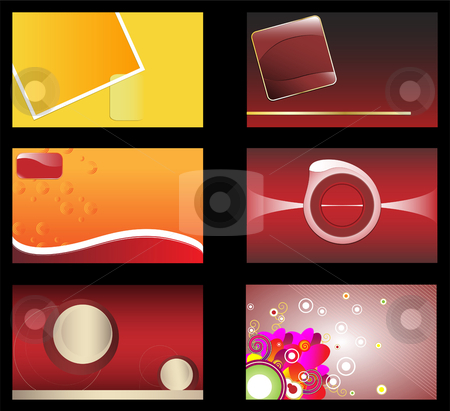 Set of 6 business card stock vector clipart, 6 business card for you to edit and use as you want by Augusto Cabral Graphiste Rennes