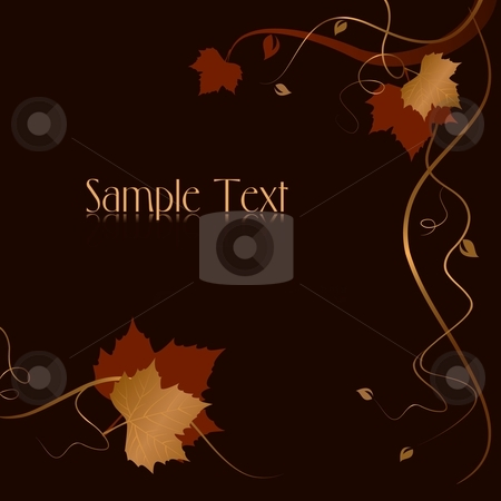 Abstract dark background with red golden foliage and swirls stock vector clipart, Dark abstract background with red golden autumn leaves and swirls at the bottom and the right hand side and space for your text. Use of blends, linear gradients, global colors. by Ina Wendrock