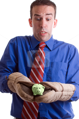Hot Investment stock photo, Concept image a hot investment featuring a businessman holding a small piggy bank with oven mitts, isolated against a white background by Richard Nelson